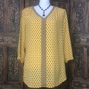 Yellow and Black Tunic Style Blouse Size Large